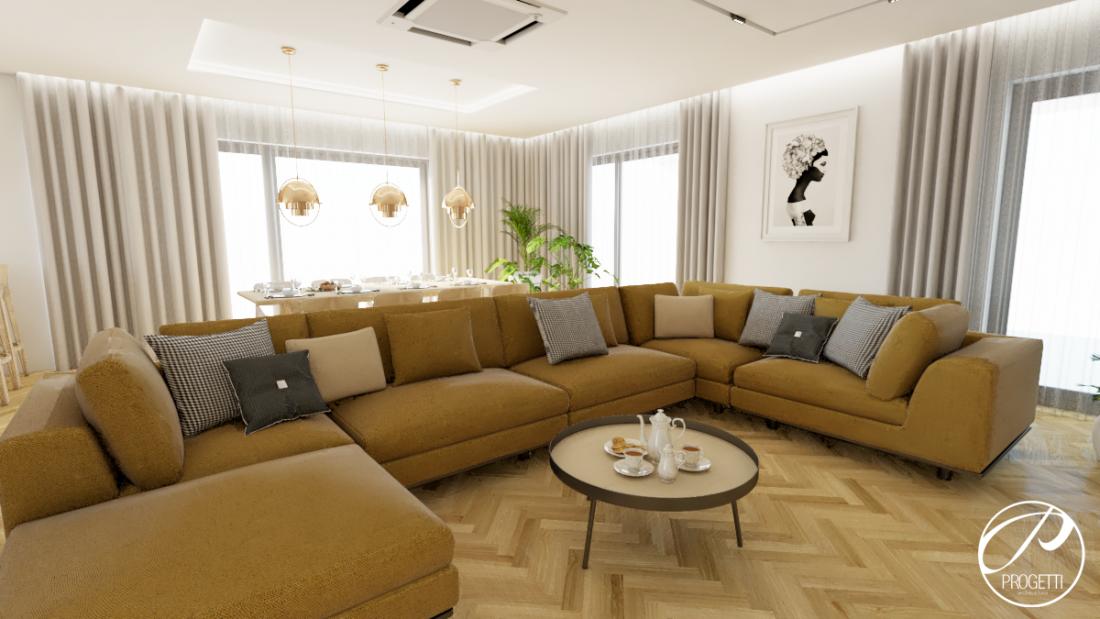Progetti Architektura, sofa narożna, tkaniny Toptextil