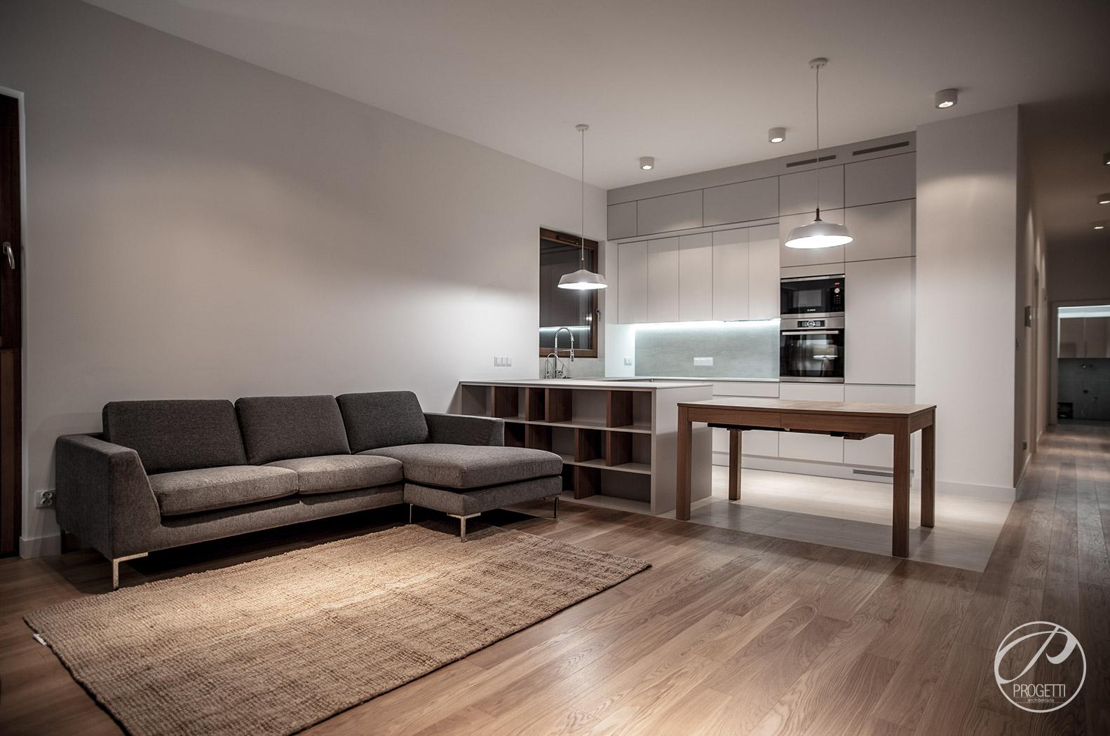 salon z kuchnią - Projekty mieszkań - realizacja